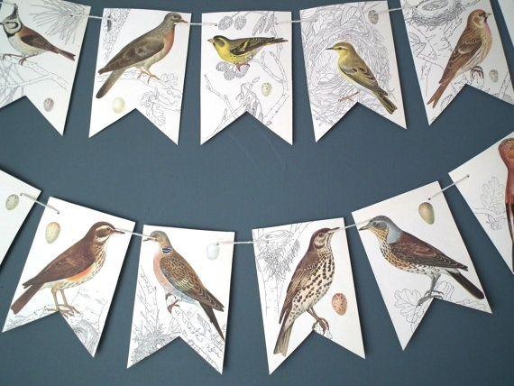 Bird Bunting Bird Banner Paper Garland Bird by TwoTimeVintage