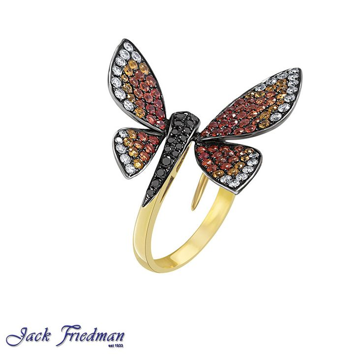 Diamond and sapphire butterfly ring jackfriedman.co.za