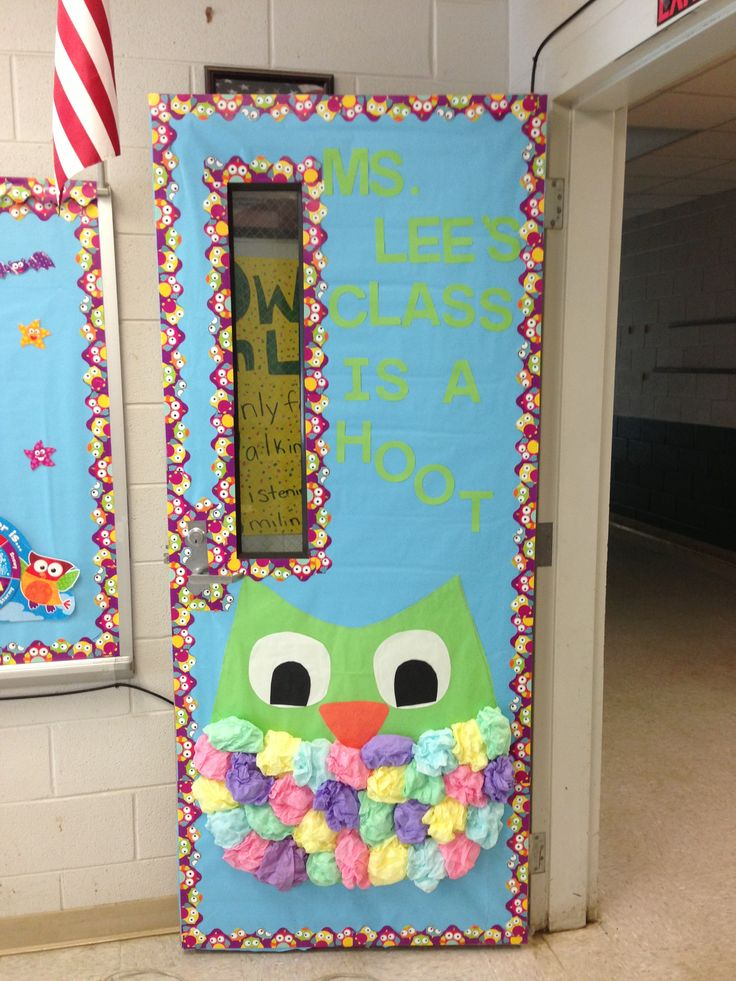 Door themes owl themed classroom door megan hanson for Nursery class door decoration