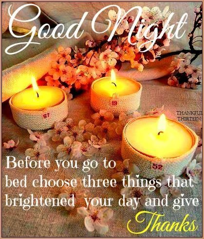 Before you go to bed, choose 3 things that brightened your day & give thanks. Good night. F8052216