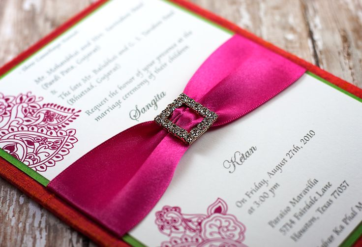 Fuchsia and orange indian wedding invitation - beautiful henna design adorned with rhinestones and completed with a crystal ribbon slider.