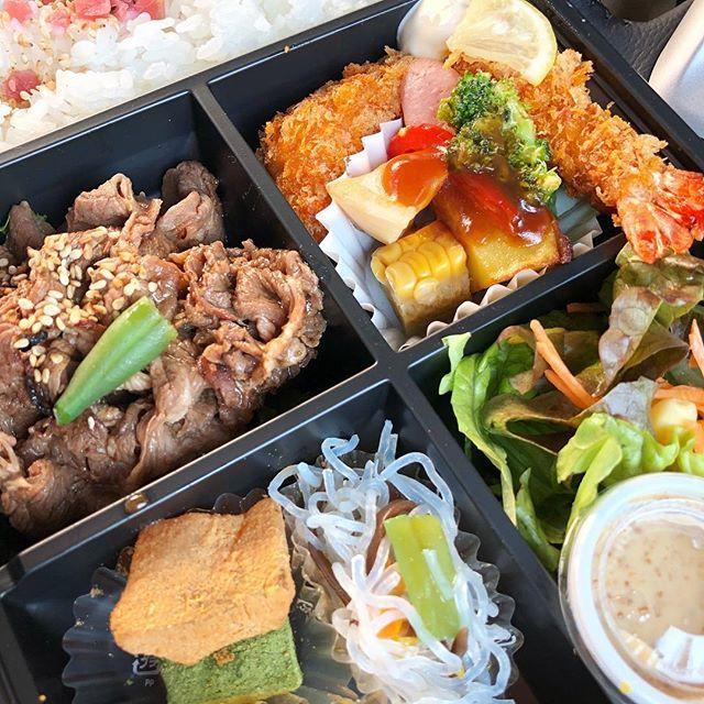 LUNCH BOX🍱🤤 . 今月はまたまた当たり♡ いっただっきまーす🤩 . . #LUNCHBOX#lunch #ランチ#お弁当#肉#エビフライ #NAKAMURAYA #MRさんありがとう #当たり弁当#国内企業 #診療所ナース