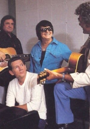 Johnny Cash, Roy Orbison, Jerry Lee Lewis and Carl Perkins.