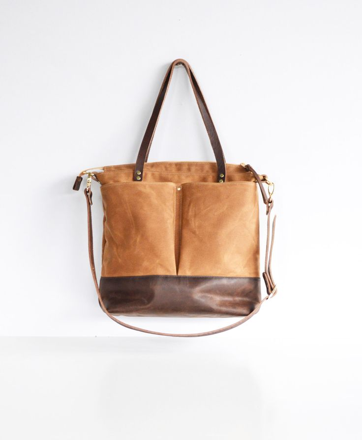 Tan waxed canvas and leather diaper bag nappy bag tote bag by ForestBags