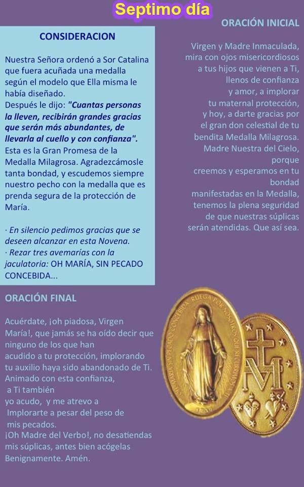NOVENA A LA VIRGEN DE LA MEDALLA MILAGROSA – SEPTIMO DÍA Oh María, Sin Pecado Concebida… @famvinES @sijmv @favisal