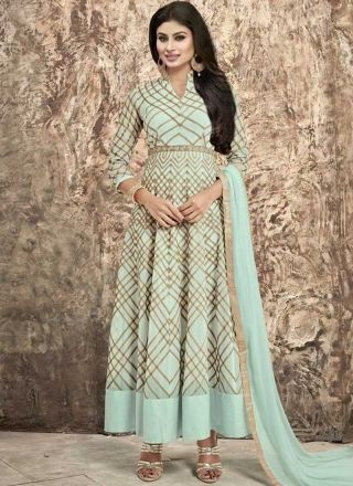 Mouni Roy Turquoise Embroidery Work Georgette Long Anarkali Suit http://www.angelnx.com/Salwar-Kameez/Bollywood-Salwar
