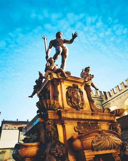 Bologna's Fountain of Neptune, sculpted by Giambologna in 1566.