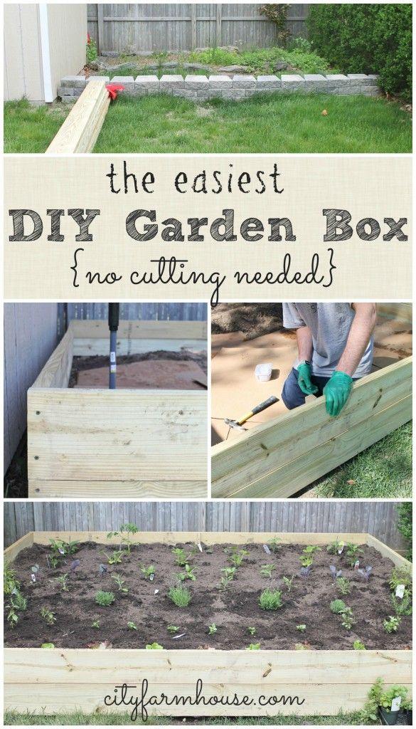 The Easiest DIY Garden Box-no cutting needed {City Farmhouse}