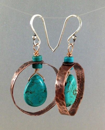 "Handmade by me. Hammered, copper hoops with turquoise-dyed howlite teardrops and turquoise heishi beads. Sterling silver ear wires. 1"" diameter, 1 3/4"" long from top of ear wire."