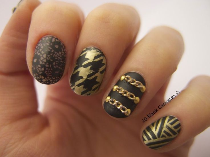 18 best beautiful gold nail art images on pinterest gold nail matte black and gold nail designs prinsesfo Choice Image