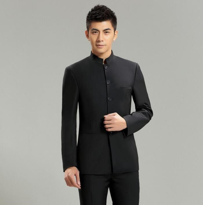 Slim fit blazer men chinese tunic suit plus velvet thermal jacket male new design suits man top fashion blazers stand collar