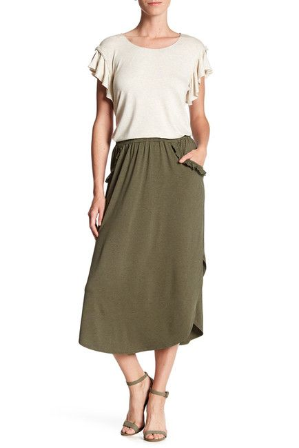 Image of Max Studio Ruffle Pocket Shirt Tail Hem Skirt