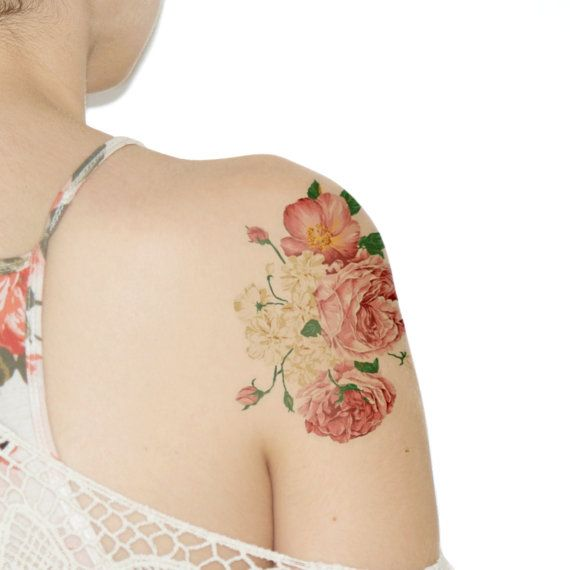 Large Temporary Tattoo Wildflowers - Light pink, Flower, Floral, Baby's Breath, Roses - NO. G30