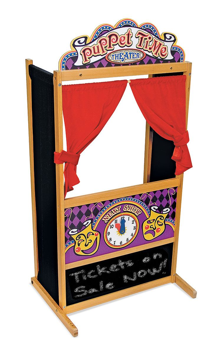 It's show time! This wooden puppet theater has been designed with a sturdy, non-tip base and plenty of room inside for a puppeteer or two! The stylized theatrical graphics and plush, velvety curtains