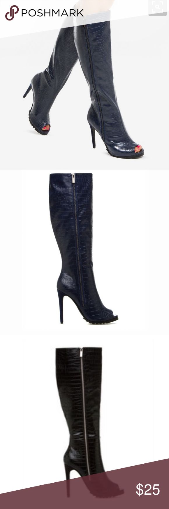 Shoedazzle Meliana open toe boots Brand new in box! Crocodile pattern and absolutely stunning! Shoe Dazzle Shoes Heeled Boots