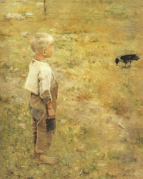 Boy with a Crow - Akseli Gallen Kallela