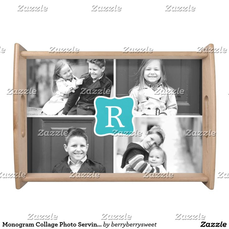 Monogram Collage Photo Serving Tray - Turquoise. Inspiration to create your product. The photograph must have good resolution. Inspiración para crear tu producto. La fotografía debe tener buena resolución. Bandejas Serving Trays, home decor, decoración. Producto disponible en tienda Zazzle. Decoración para el hogar. Product available in Zazzle store. Home decoration. Regalos, Gifts. #Bandejas #Serving #Trays