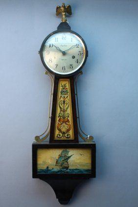 Antique Ingraham Nautical Banjo Clock