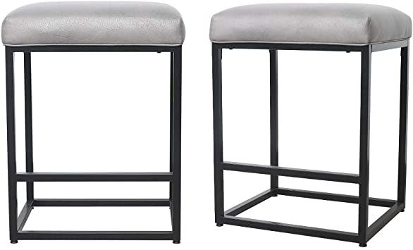 Ong Bar Stools With Mental Frame Amp Leather Cushion Backless Counter Stool Ong Hm Ws03 Gold Black In 2020 Counter Stools Backless Bar Stools Metal Counter Stools