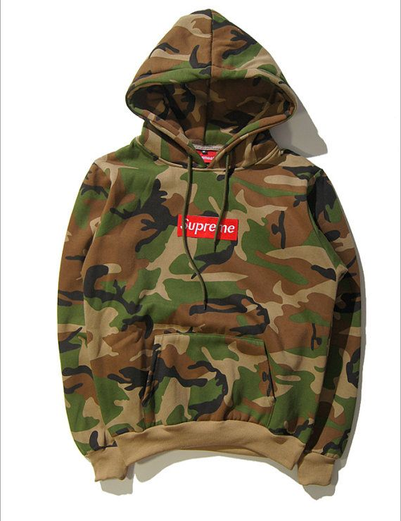 Camo (fake) Supreme Hoodie from video TRY,ON HOODIE