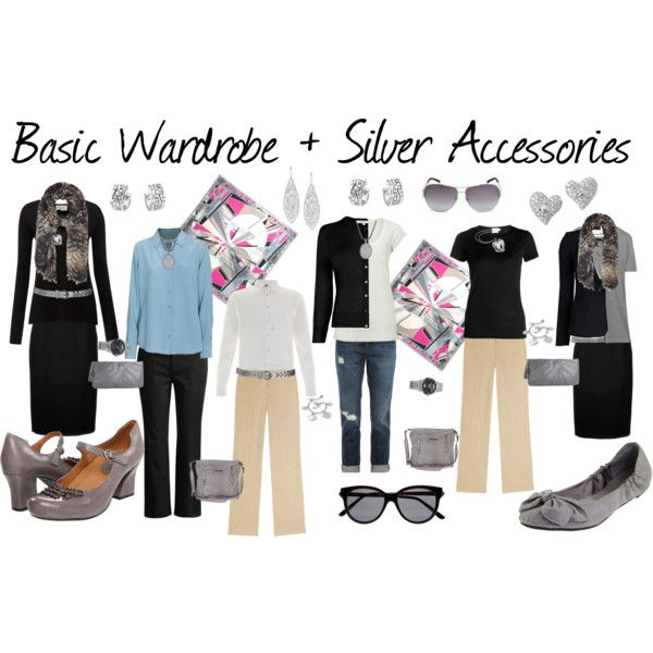 """Basic Wardrobe + Gray Accessories"" by susanmcu on Polyvore"