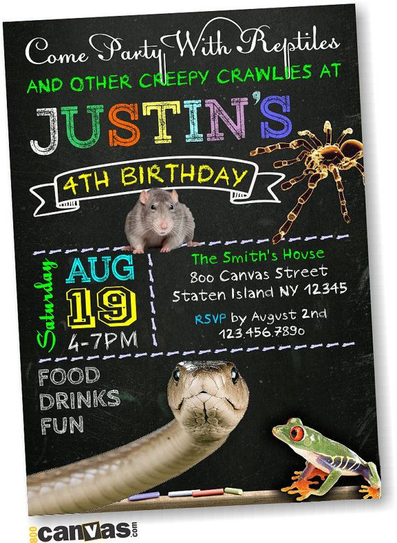 Reptile Party Invitation Reptile Party Birthday by 800Canvas