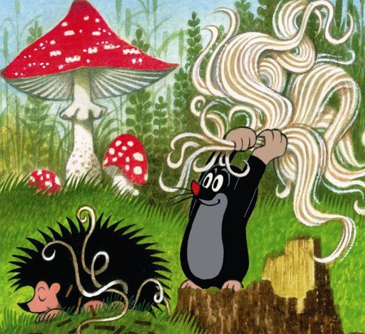 Puzzle-puzzle.cz - Krtek a ježek: Česání lnu 60 dílků