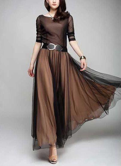 Spring Summer Chiffon Long Dress Lady Women Clothing by handok, $79.00