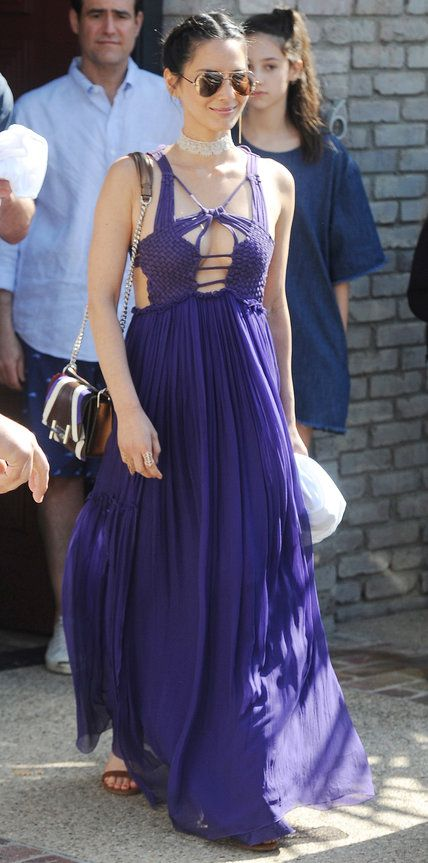 Olivia Munn made an entrance at Joel Silver's annual Memorial Day beach party in a breezy violet Alberta Feretti maxi dress with a sexy cut-out crochet knit bodice. She finished her look with a sparkly choker, a chain-strap purse, and mirrored Linda Farrow aviators.