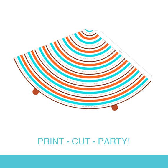 Striped Kids Party Hat DIY Printable - Come Fly With Me Airplane Boys Transportation Birthday Party by Daintzy