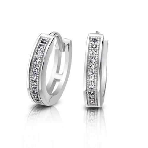 Sterling Silver Micro Pave CZ Huggie Earrings