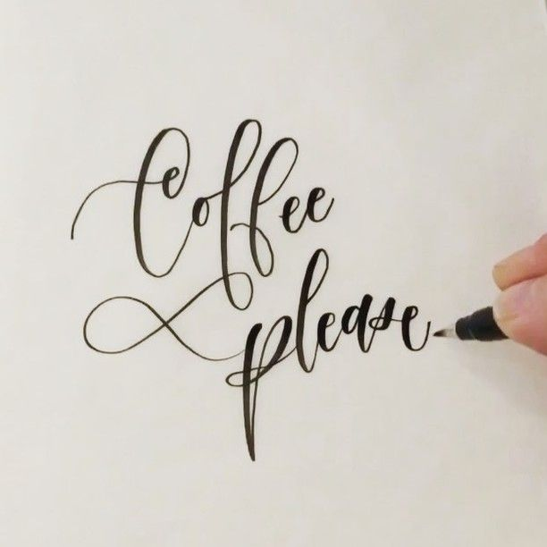 Anyone else scouring the nooks and crannies of their house for a little extra ☕️☕️☕️ on this Monday?! 😉 #coffeeplease #sendcoffee Pen: @tombowusa Fudenosuke soft type brush pen #itskateshandwriting #hyperlapse #letteringvideo #calligraphyvideo