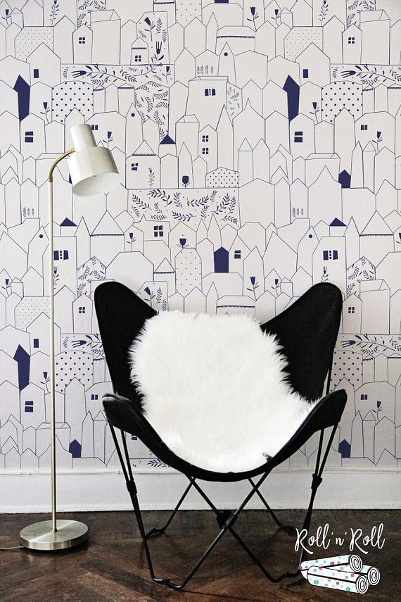 Doodle Houses Wallpaper Removable Wallpaper Or Traditional Etsy Home Wallpaper Removable Wallpaper Black And White Wallpaper
