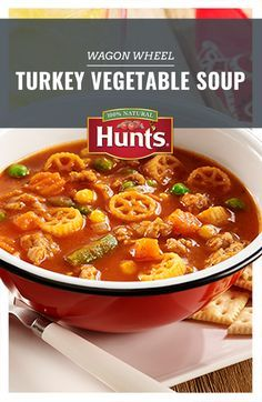 A hearty soup is just a few ingredients away. Checkout this easy Wagon Wheel Turkey Vegetable soup recipe.