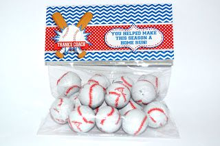 Baseball or T-ball Coach Printable Thank You Gift, cute bag topper filled with baseball chocolates!