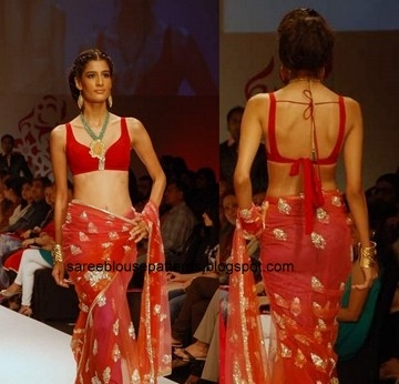 Saree Blouse Patterns: Malini and Vijay Pink Georgette Saree at Pune Fashion Week