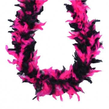 Pink & Black Feather Boa  This gorgeous pink and black feather boa is made from soft pink and black feathers decorated with flecks of silver tinsel.  $8.95