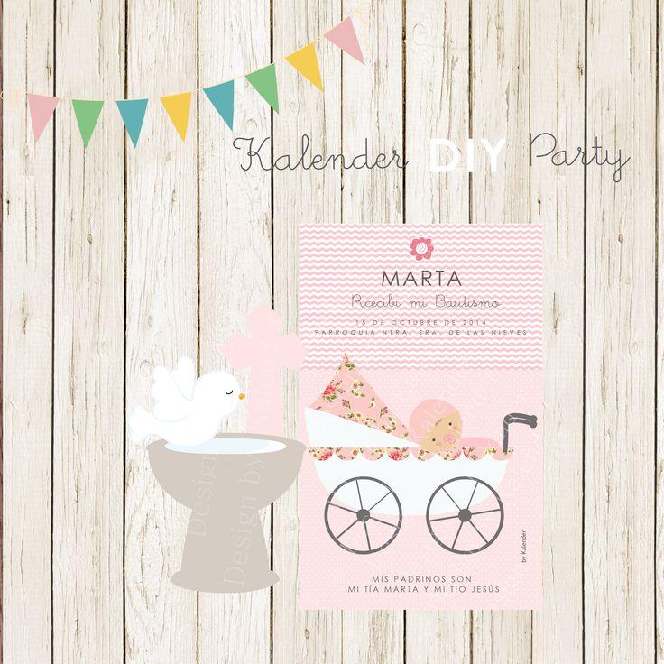Baptism Card or birth announcement card for girls.  Recordatorio de Bautismo o Tarjeta de anunciamiento de nacimiento para niñas.