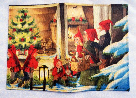 Christmas gnomes Leather Passport Holder Monogram by elenaaleshina