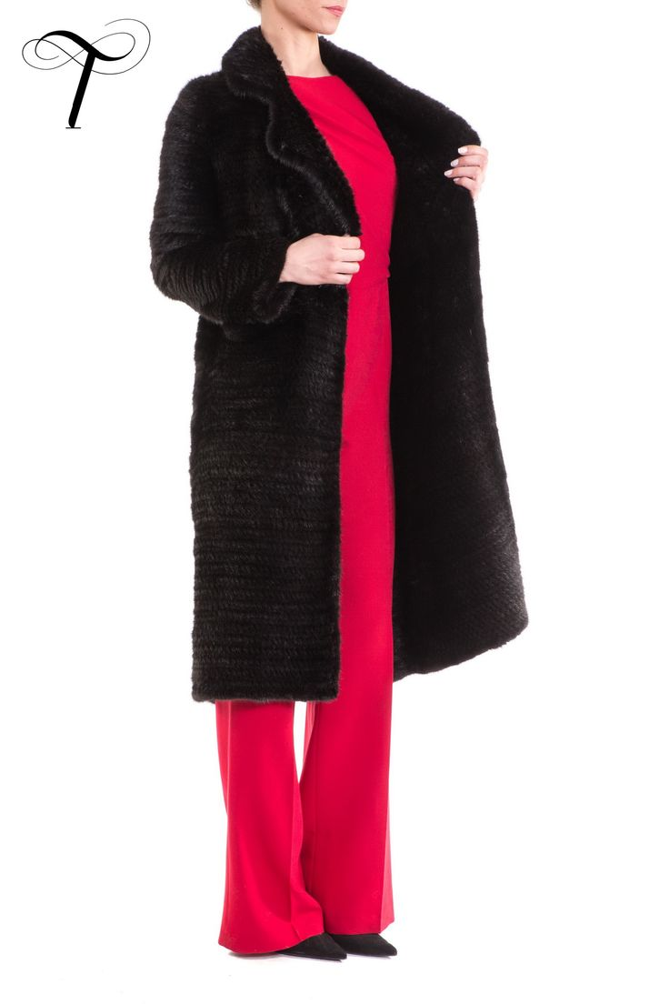 BLACK KNITTED MINK COAT  This sumptuously soft black #furcoat exudes #femininity and #sophistication and will undoubtedly never go out of #style. Cut in a straight line with a notch collar, it has two front patch pockets. A matching coloured long haired #minkfur belt gives you the option to cinch the #knittedcoat at the waist for a more fitted figure. Pair the #coat with denims and boots or an evening dress and high heels to offer refined #elegance to your appearance. #fur #toutountzisfurs