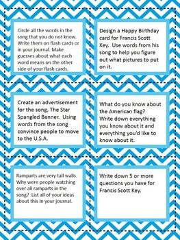 Francis Scott Key Biography For Kids Star Spangled Banner Lyrics Task Cards
