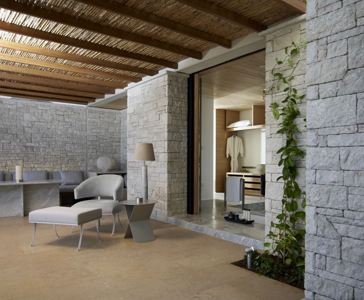 Sinai Pearl, beige egyptian limestone for outdoors -Stonetech project -  Aman Zoe luxury resort, www.stonetechgroup.gr