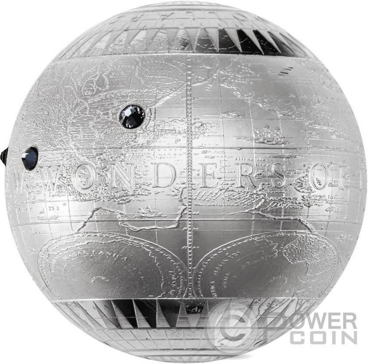 SEVEN NEW WONDERS OF THE WORLD Spherical 7 Oz Silver Coin 7$ Niue 2015