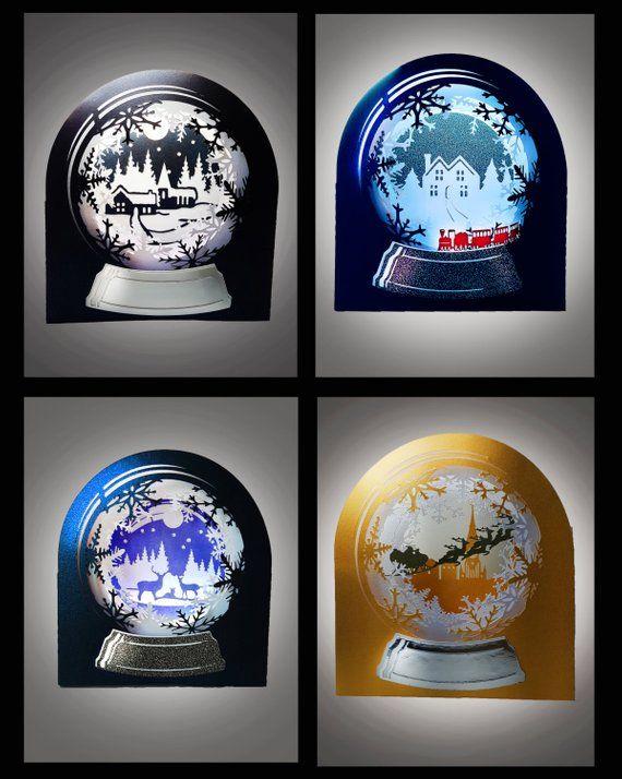 Snow Globe 3d Cards Set Of 4 Winter Wonderland Set Etsy Snow Globes 3d Cards Card Set