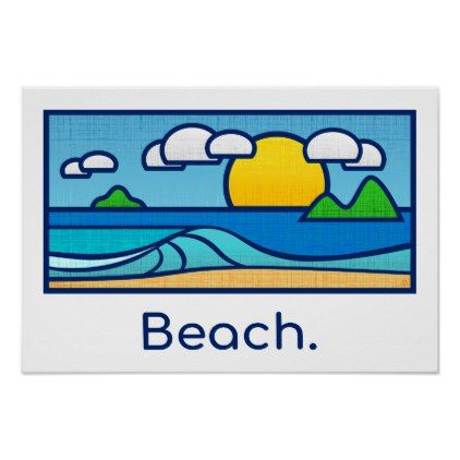 Surf Beach Poster - summer gifts season diy template ideas
