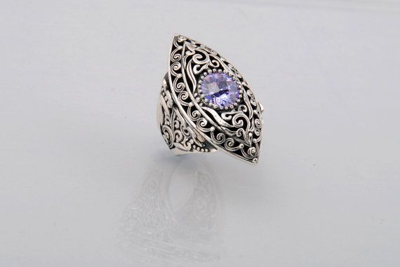 Handcrafted sterling silver wedding ring with one amethyst stone, Byzantine design, Basileia.