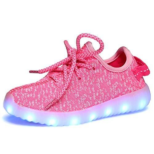 Kids Light Up Shoes--Flashing Sneakers Led Shoes Pink Luminous Light Shoes with Rechargeable 7 Models LED Light Sport Shoes for Boys Girls Light Up Trainers by AjayR