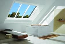 ROTO Azuro panorama dakraam plaatsen in wellness, sauna, badkamer, ontspanningsruimte, fitness.