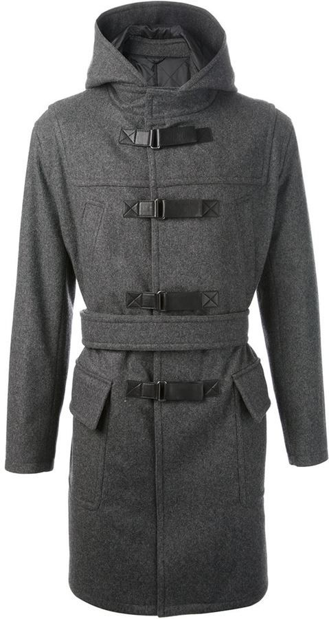 $1,816, Grey Duffle Coat: Neil Barrett Belted Duffle Coat. Sold by farfetch.com. Click for more info: https://lookastic.com/men/shop_items/101015/redirect