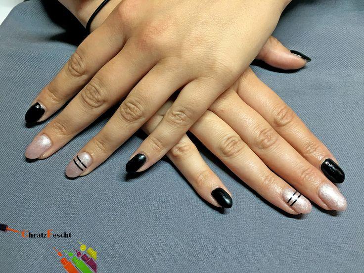 Schwarz in Kombination mit Glitzer und Stripes 🌑